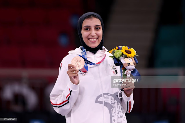 Karate fighter Giana Farouk with her bronze medal in Tokyo