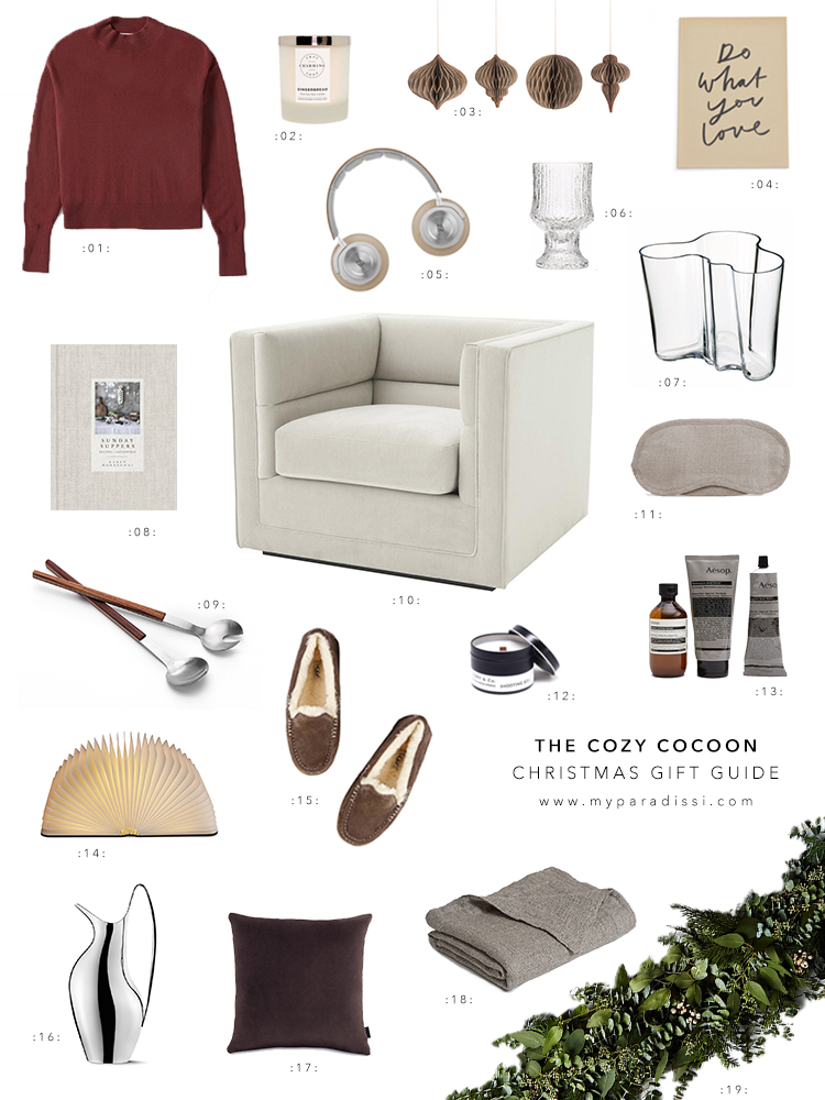 The cozy cocoon Christmas Gift Guide by My Paradissi