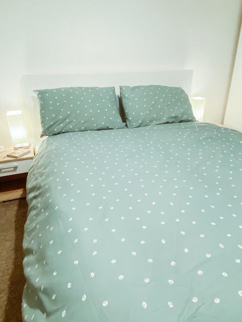 Ikea Malm Bed Frame and Sage Duvet Bedsheets