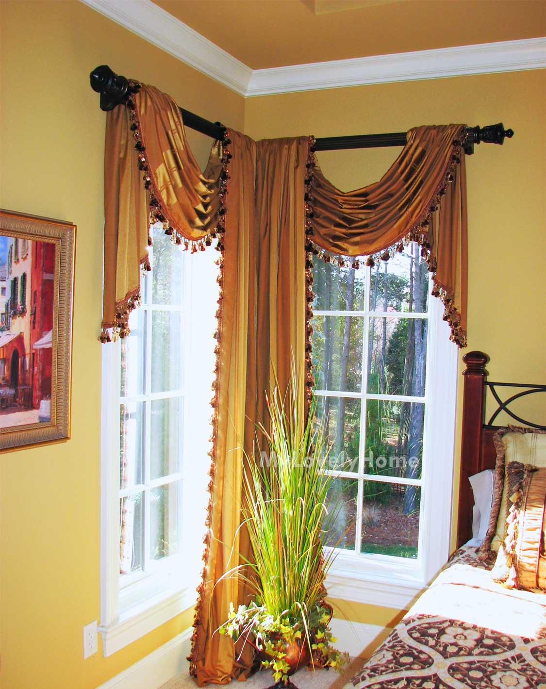 l shape window curtain rod ideas and