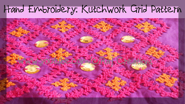 how to stitch grid pattern in kutch work
