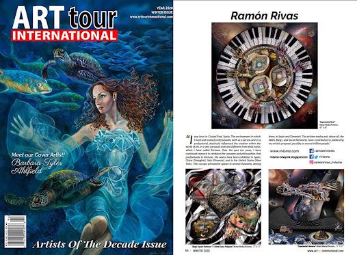 Portada de la revista ArtTour International y la página de Ramón Rivas