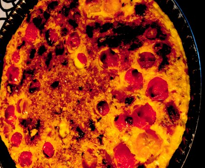 Clafoutis with cherry tomatoes and Saint Marcellin