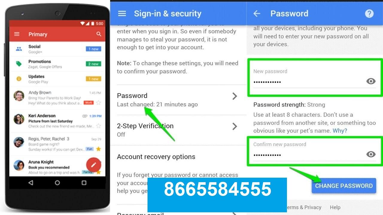 gmail change account password