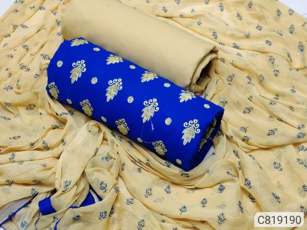 Women's cotton zari dress materials