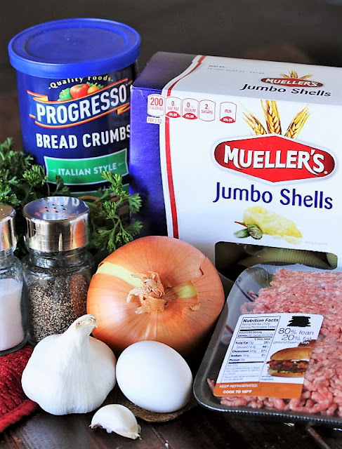 Ground Beef Stuffed Shells Filling Ingredients Image