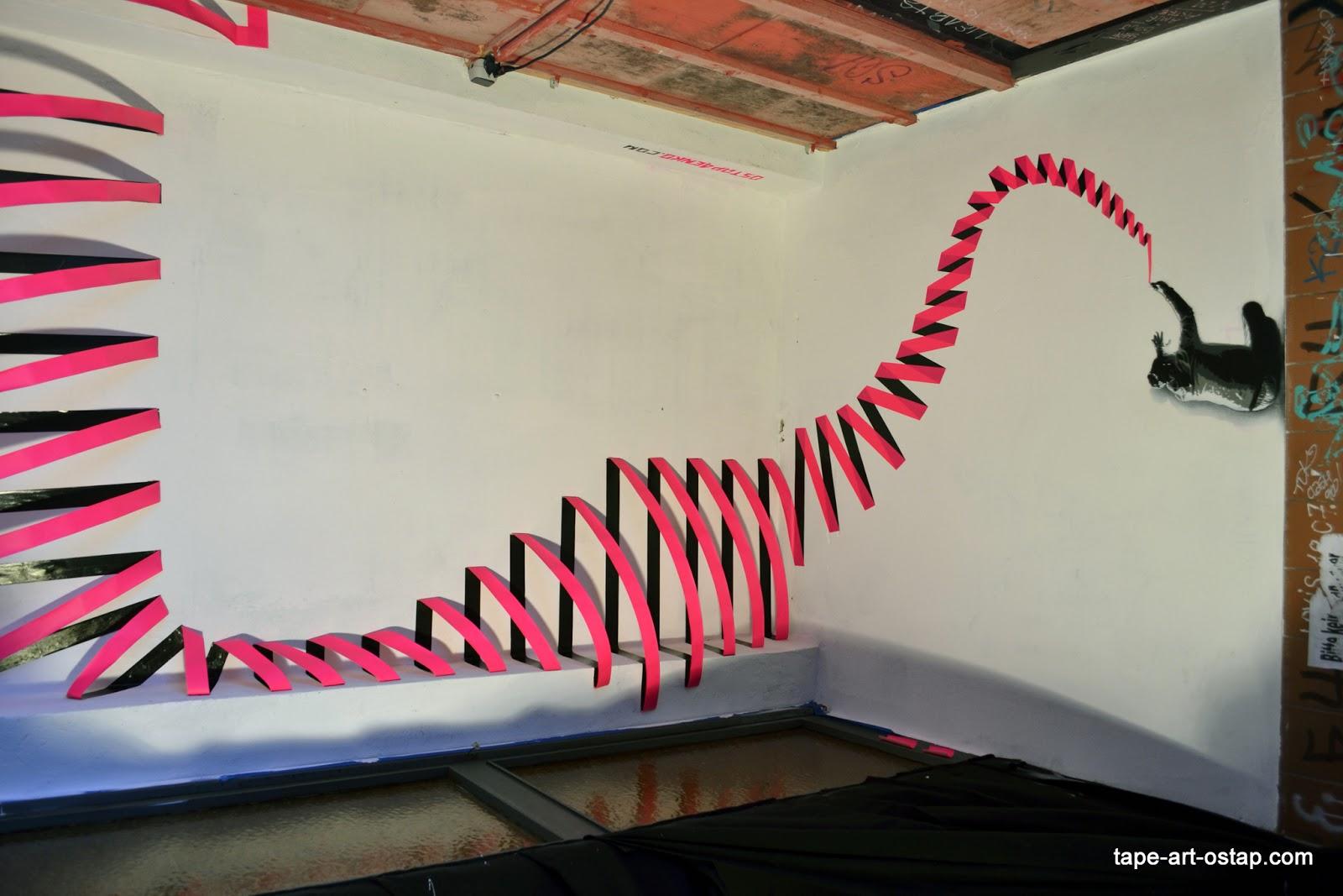 3D Tape Art Installation & 3D Tape Art Installation   Ostapu0027s Tape Art and Street Art Blog