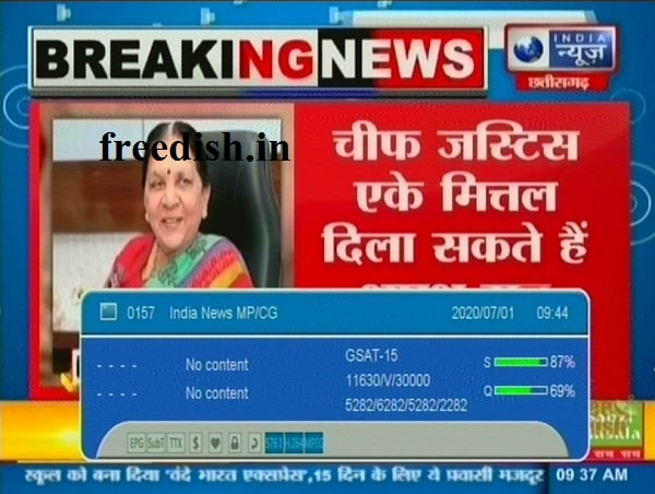 India News MP / CG frequency, India News MP / CG channel number
