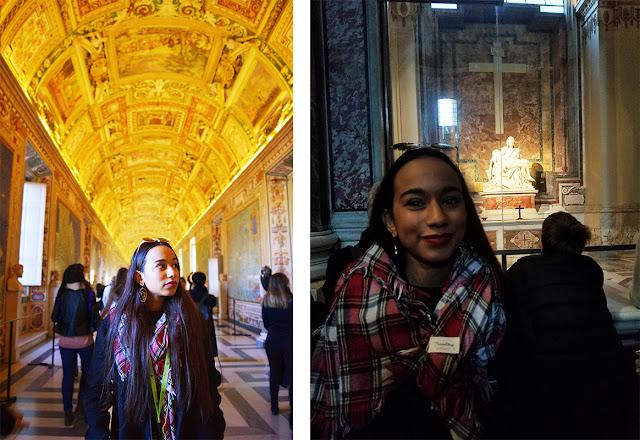 melissa posando dentro del museo vaticano, y a la derecha posando frente a la piedad de miguel angel