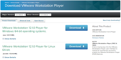 Download VMware player untuk Hadoop