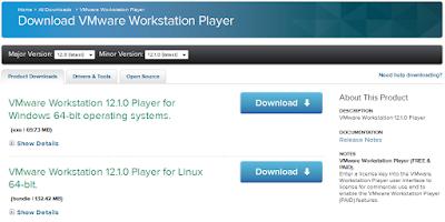 Download VMware player untuk Hadoop
