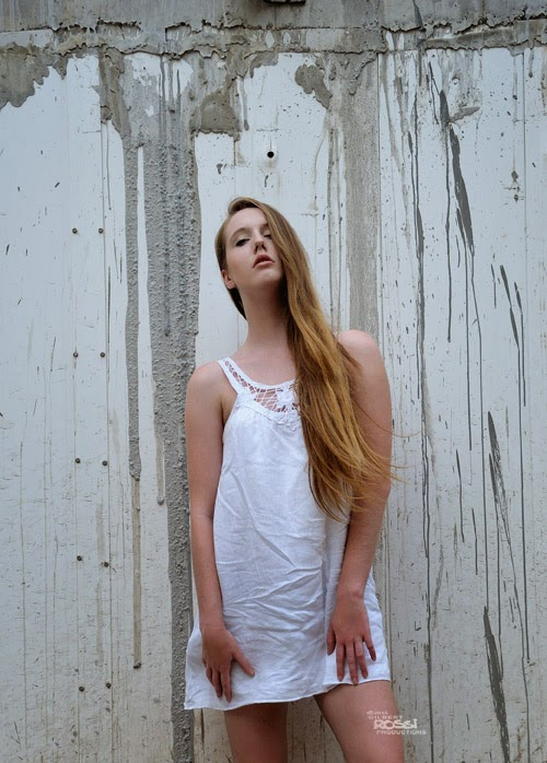 camille thomas model, urban location shoot, fashion in the field, model in white, long hair,