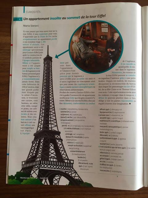 Français Présent 54/2020 - artykuł o apartamencie na szczycie Wieży Eiffla - Francuski przy kawie
