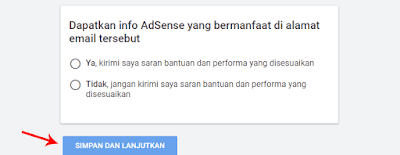 Konfirmasi Pendaftaran AdSense Non Hosted