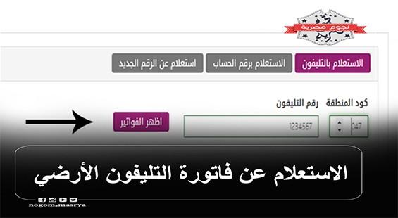 استعلام عن فاتورة التليفون الارضى لشهر يونيو لعملاء المصرية للاتصالات