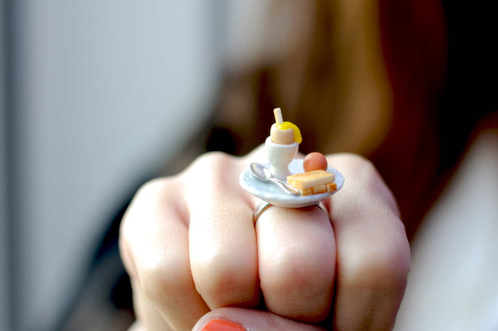 quirky jewellery, egg and soldier ring, cute jewellery, temporary secretary jewellery