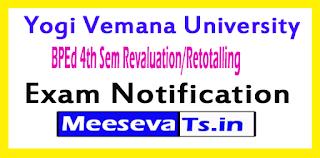 Yogi Vemana University BPEd 4th Sem Revaluation/Retotalling Notification
