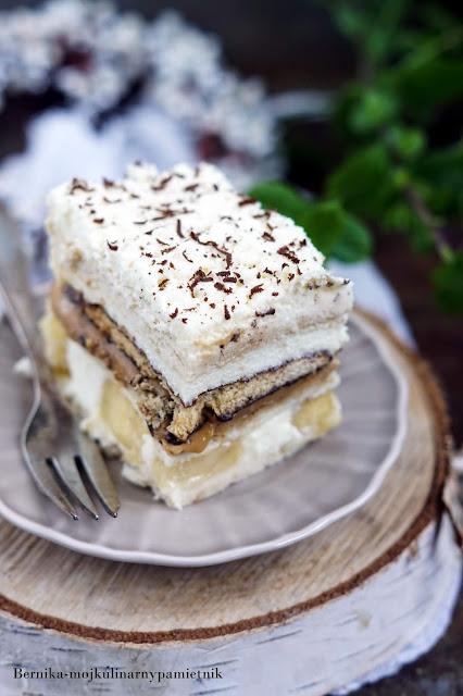 ciasto, kajmak, banany, deser, krowka, bez pieczenia, bernika, kulinarny pamietnik