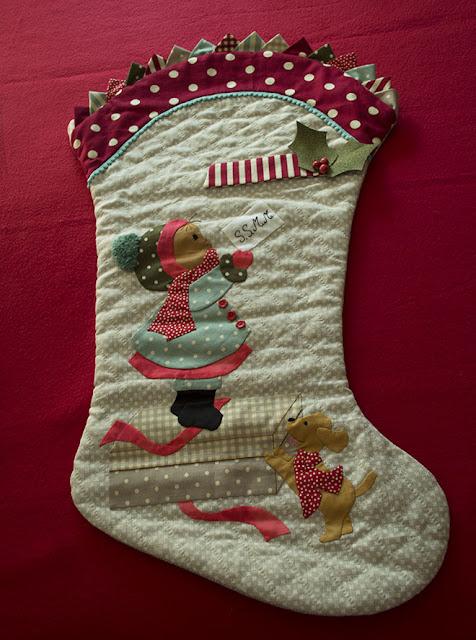 Bota de Navidad. Aplicaciones patchwork