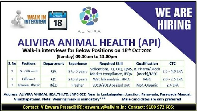 Alivira Animal Health | Walk-in for QA/QC/R&D(Fresher)  on 18 Oct 2020 at Visakhapatnam