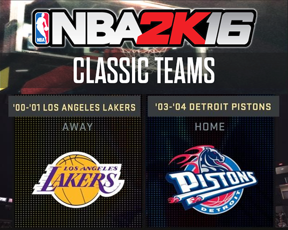 NBA 2K16 Adds '00-'01 Lakers & '03-'04 Pistons