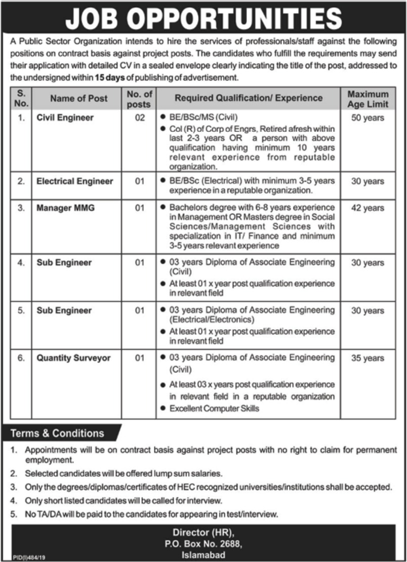 Public Sector Organization Jobs 2019 P.O.Box 2688 Islamabad