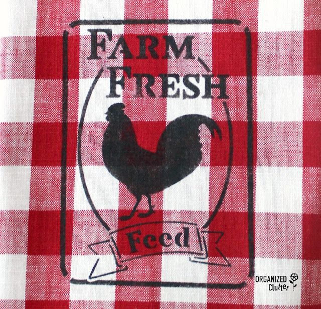 DIY Farmhouse Style Stenciled Hobby Lobby Buffalo Check Kitchen Linens #farmhouse #buffalocheck #buffaloplaid #tablerunner #stencil #rooster #feedsack #hobbylobby #fusionmineralpaint
