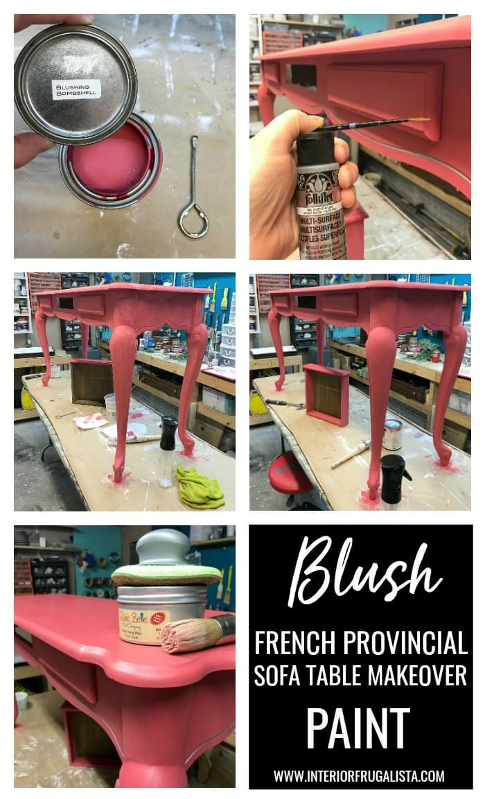 Blush French Provincial Sofa Table Makeover Paint