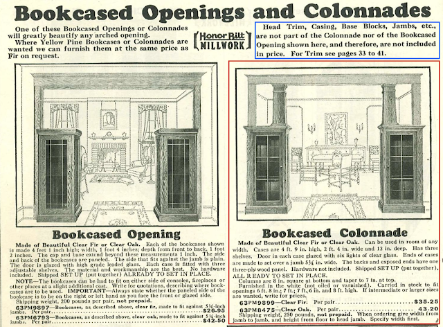 Sears built-in book cases and colonnades Sears Building Supplies catalog 1930
