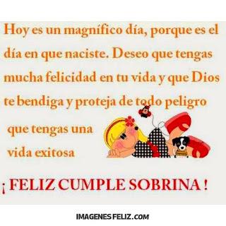Feliz Cumpleaños Sobrinita. Que Dios te proteja. Éxitos en tu vida