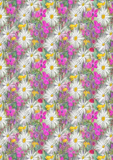 Printable floral background featuring white daisies and other vibrant flowers in shaes of pink, purple, red and gold, with spring-green leaves.