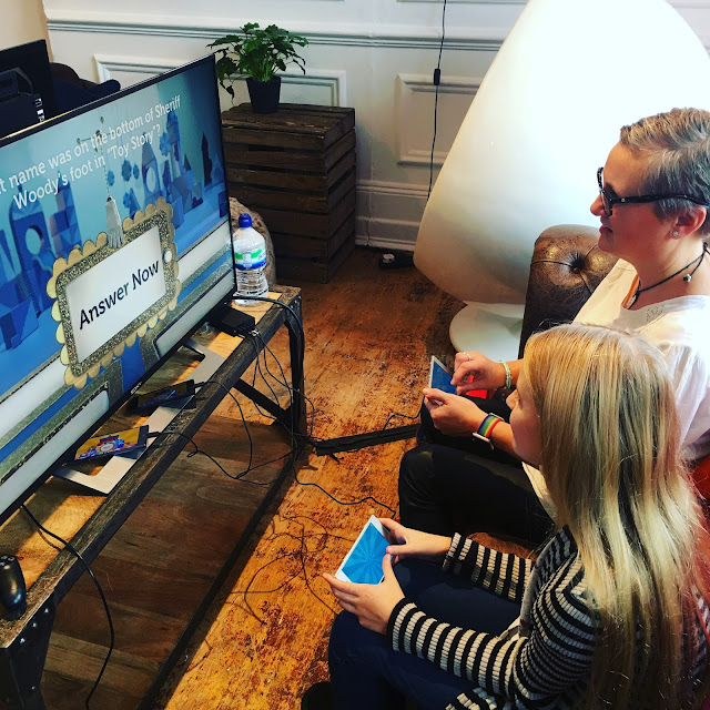 family playing console game