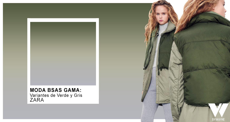 Gama de tonos verdes y gris combinación de colores otoño invierno 2021