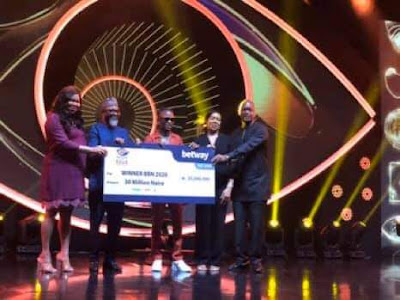 Big brother naija season five winner on the prize presentation day