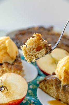 bite of caramel apple skillet cake on fork