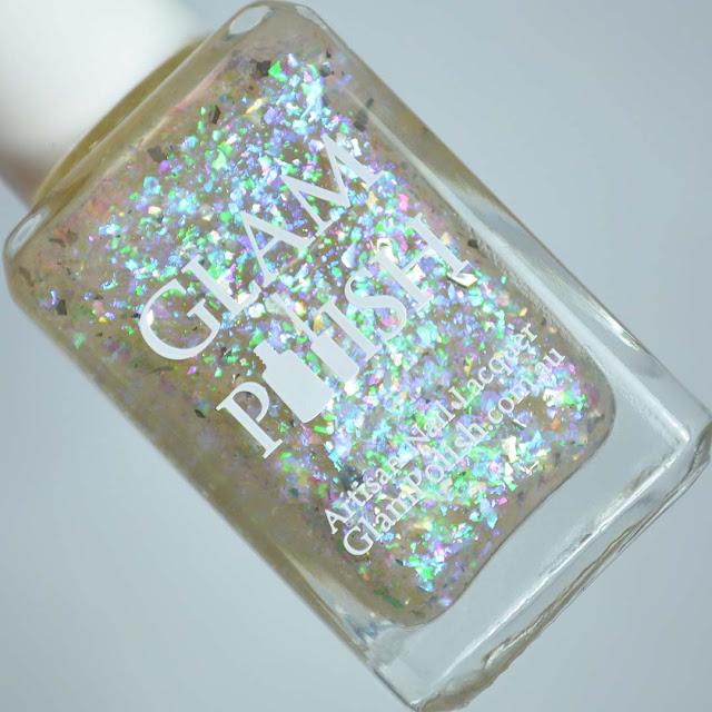 blue purple flakie nail polish in a bottle