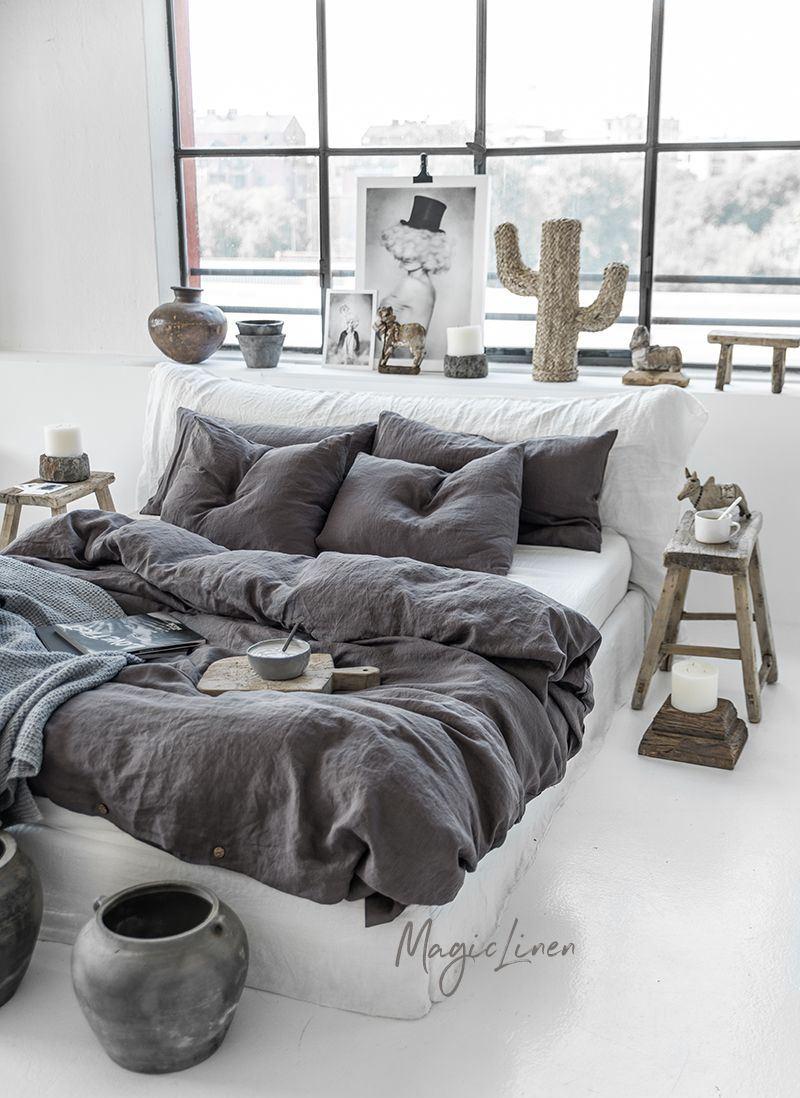 cozy white and grey bedroom design