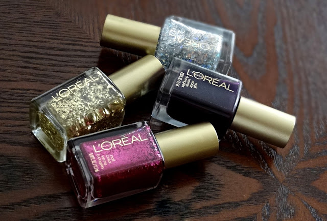 L'Oreal Holiday Soiree Nail Polish Collection 24 Carat, Almost Midnight, Snow Globe, Pink Party Dress Review, Photos & Swatches