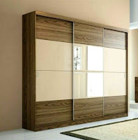 Wooden wardrobe with mirror sliding doors