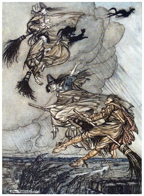 Brujas volando en escoba