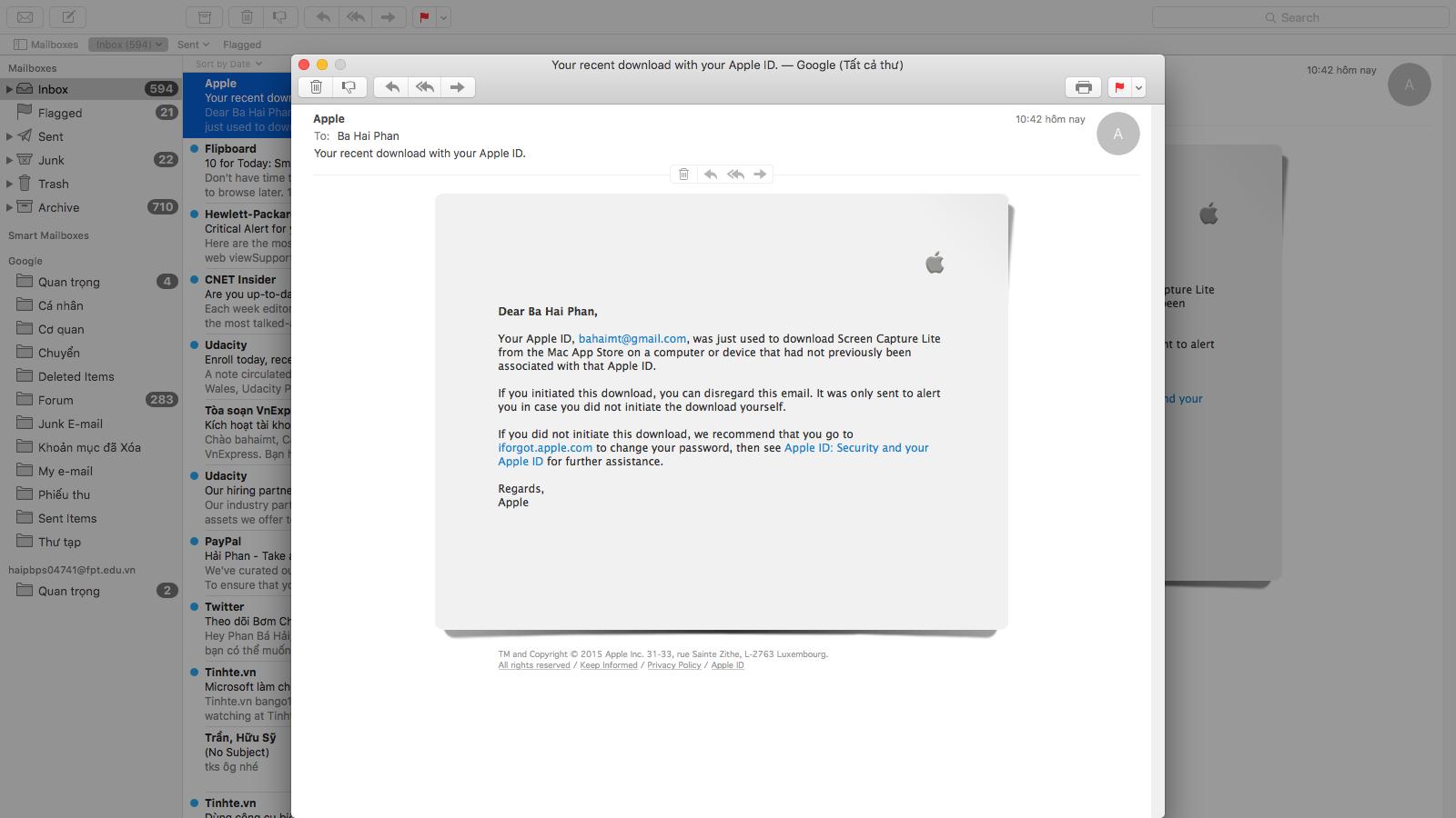 Xem mail dưới dạng cửa sổ