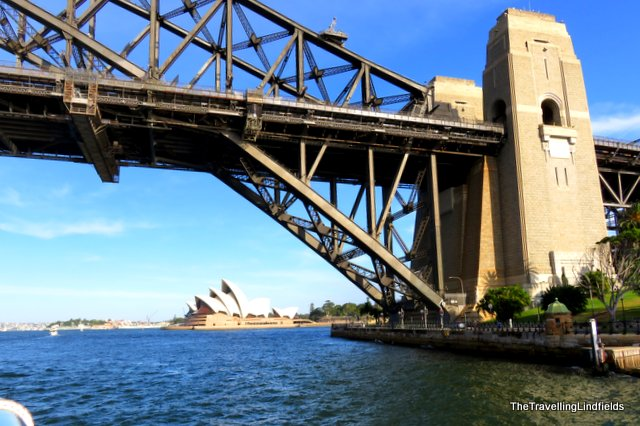 Sailing under the Sydney Harbour Bridge.