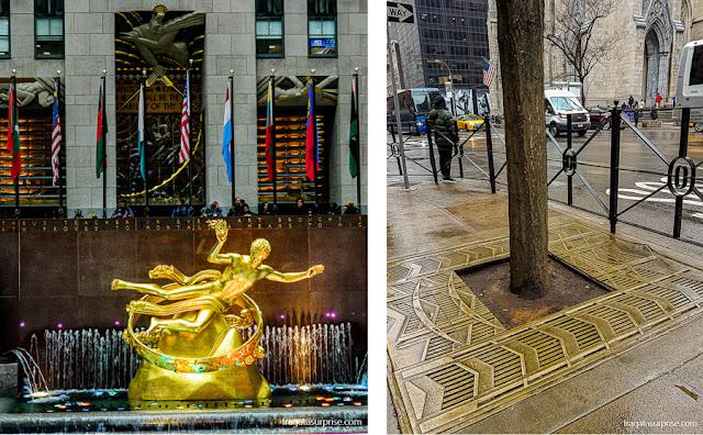 Fonte da Rockefeller Plaza e decoração art déco do Rockefeller Center, Nova York