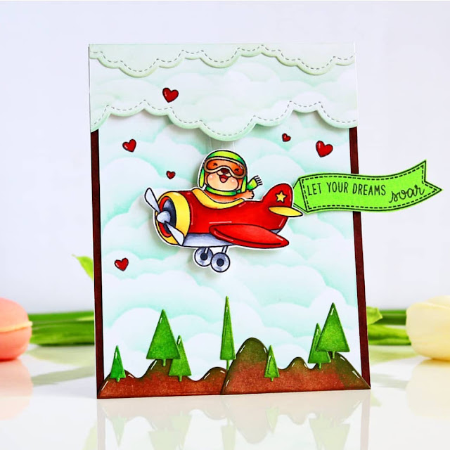 Sunny Studio Stamps: Plane Awesome Fluffy Clouds Border Customer Card by Chitra