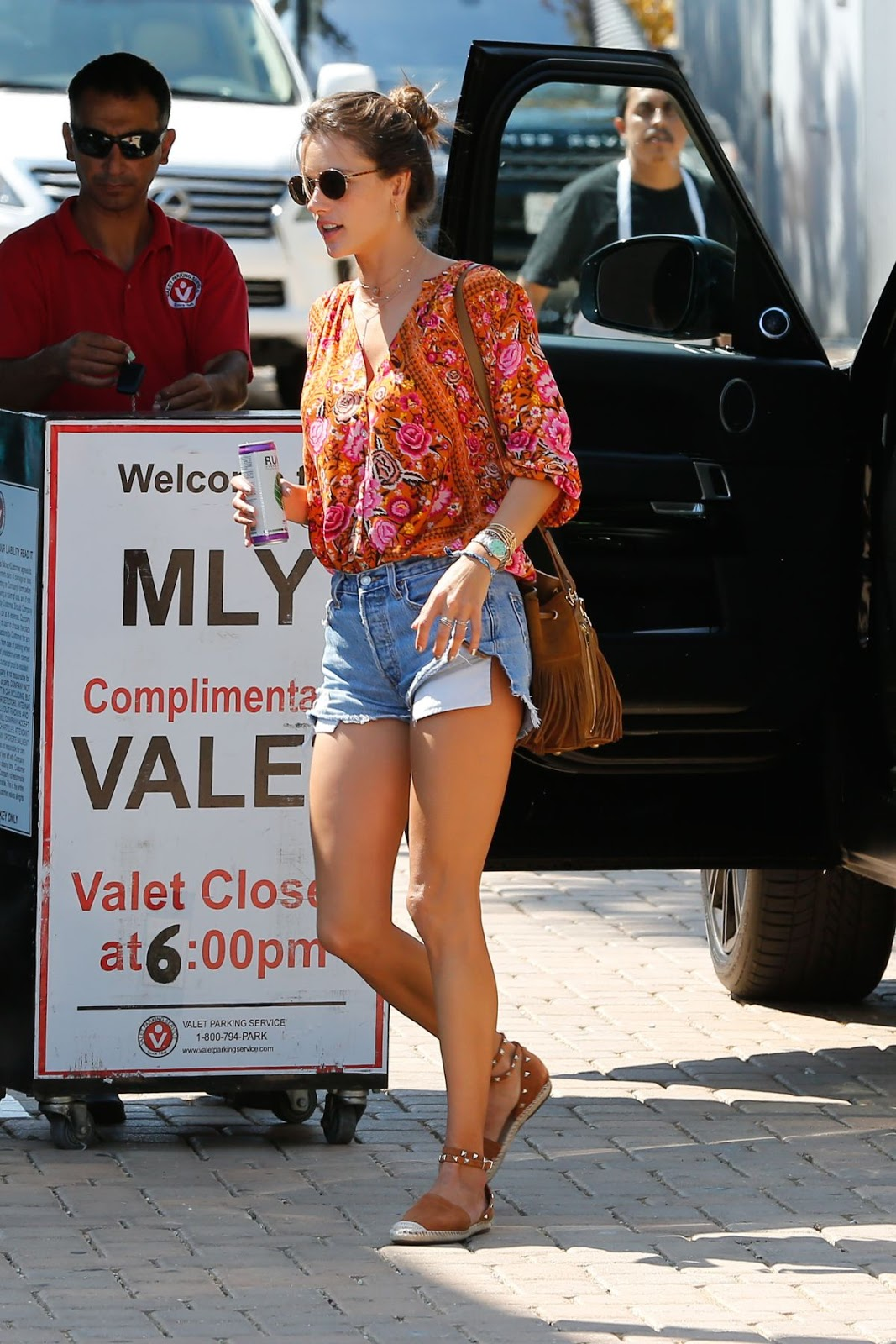 Photos of Alessandra Ambrosio with sunglasses In Jeans Shorts Out In Malibu