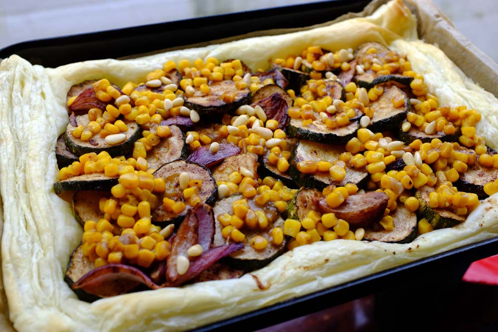 A2K - A Seasonal Veg Table: Zucchini and Sweetcorn Tart