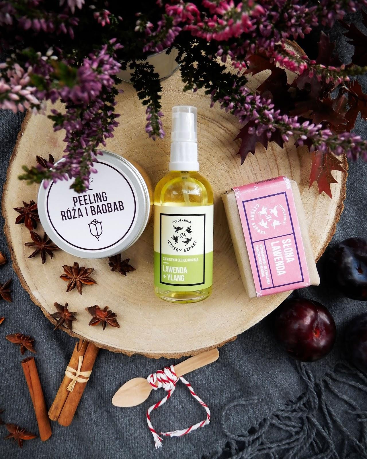 Mydlarnia Cztery Szpaki | Naturalne wspomnienie lata - Różany peeling, Odprężający olejek & mydło Słona Lawenda