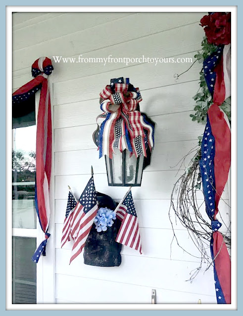Patriotic -Porch- Decor-DIY-Bows-Flags-Hydrangeas-From My Front Porch To Yours
