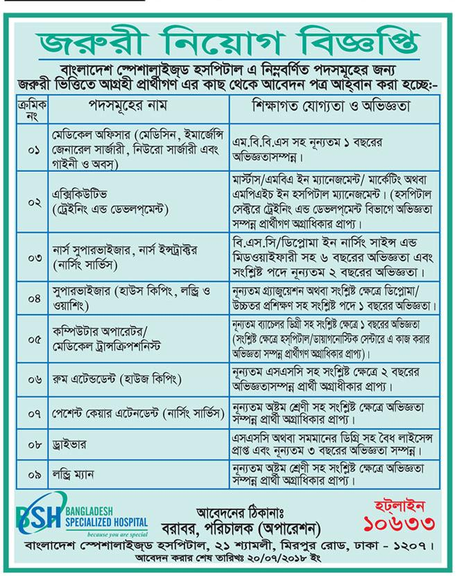 Bangladesh Specialized Hospital Job Circular 2018
