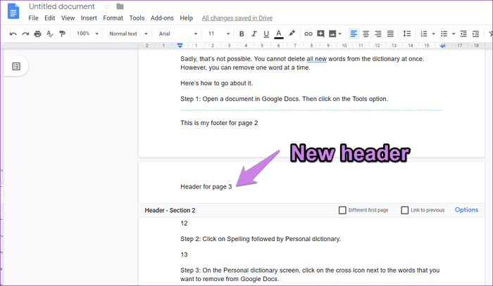 How To Make Different Headers And Footers In Google Docs How To Square Bring your cursor in front of the first letter on the page to remove the page break from your document, and press delete. footers in google docs